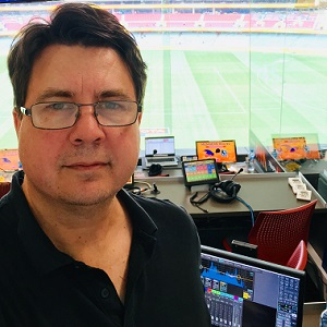 Damian in the booth mixing live audio for a Triple M Adelaide football call.